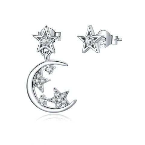 Stars and Moon Asymmetry Stud Earrings