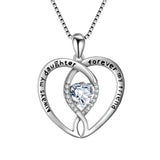 Loving Heart Necklace Always My Daughter Forever My Friend Engraved Necklace