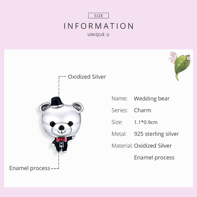 925 Sterling Silver the Handsome Bear Groom in Wedding Charm Fit DIY Bracelet Precious Jewelry For Women