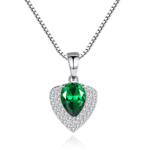 Fashion Drop Birthstone Heart Shaped Zircon Pendant Atmosphere Sterling silver Necklace  for women
