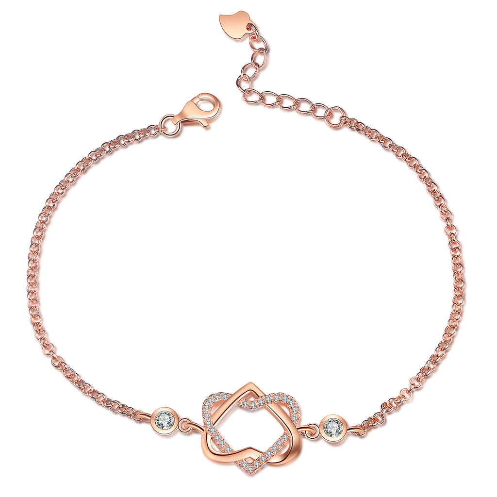 Love Knot Full Zirconia Bracelet Rose Gold Plating Adjustable Love Bracelet