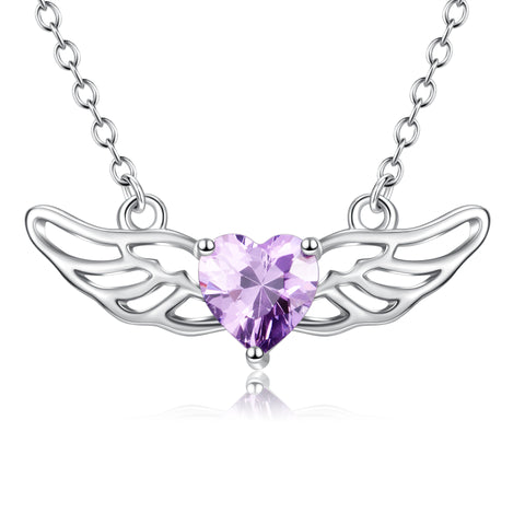 Fairy tale purple crystal angel wings necklace hollow chain necklace
