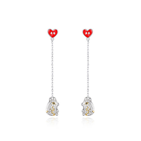 Silver Piggy Heart Drop Earrings