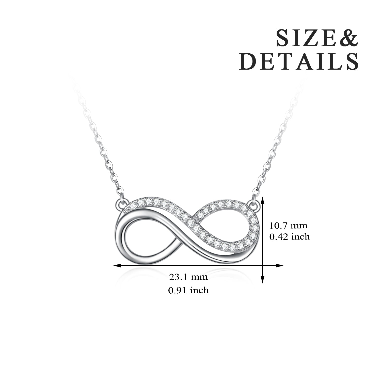Two Layers Zircon Jewelry Math Unlimited Symbol Necklace Number Eight