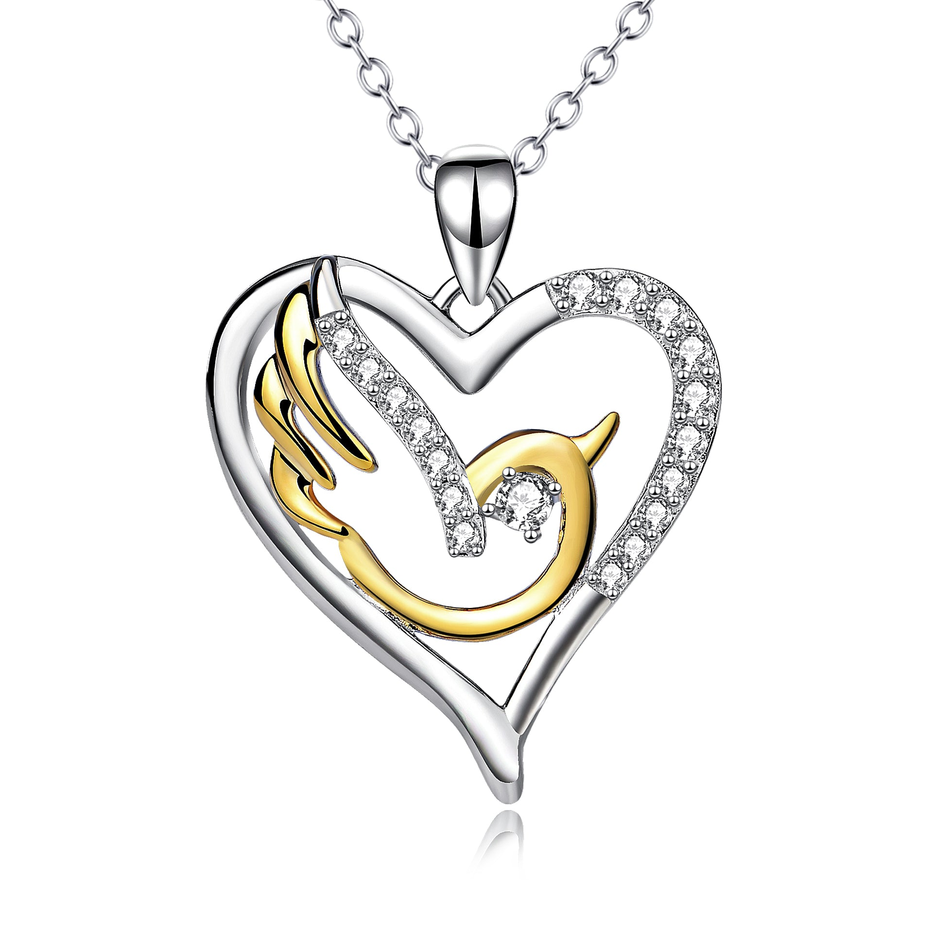 Elegant Lovely Birds Necklace Simple Gold Solid Heart Shaped Necklace for Lady