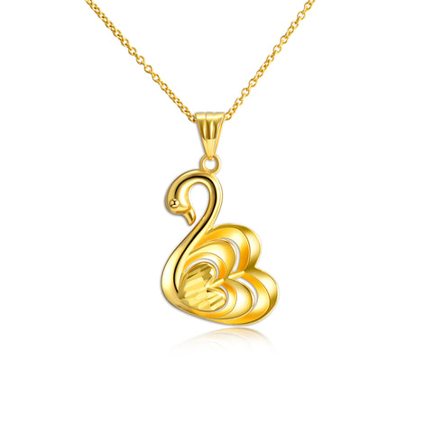 18K Gold European And American Fashion Swan Shape Clavicle Chain Noble Elegant Necklace