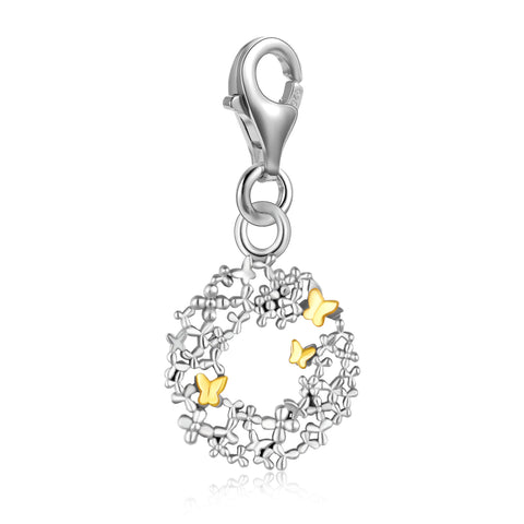 S925 Sterling Silver Fashion New Garland Butterfly Charms