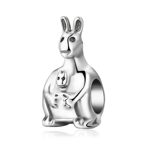 Silver Mama Kangaroo And Baby Joey Charm Beads