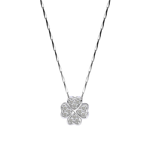 micro inlaid clover necklace