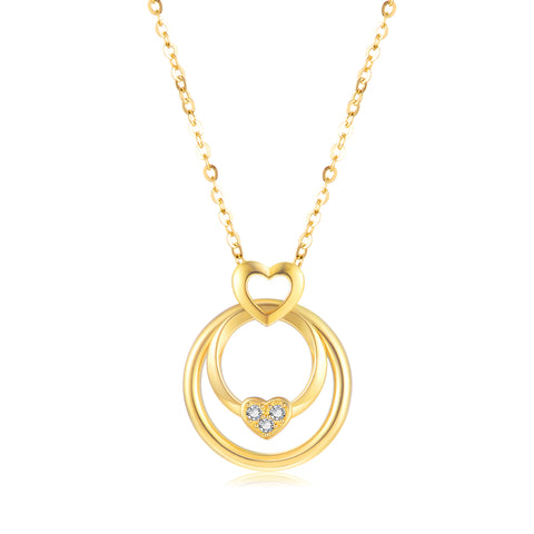 18K Gold Luxury Elegant Round Necklace Geometric Jewelry