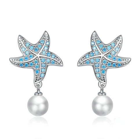 Ocean Blue Starfish with Pearl Stud Earrings