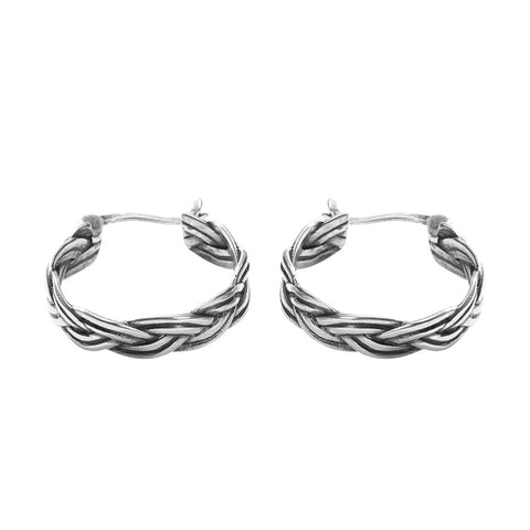 Sterling Silver Jewelry Twist Retro Thai Silver Earrings Personality Circle