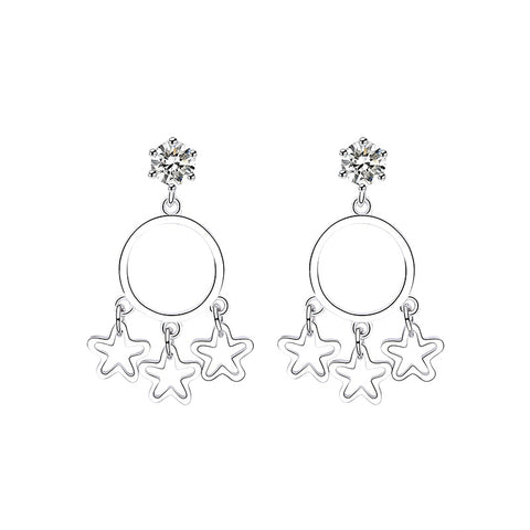 hollow circle five star earrings