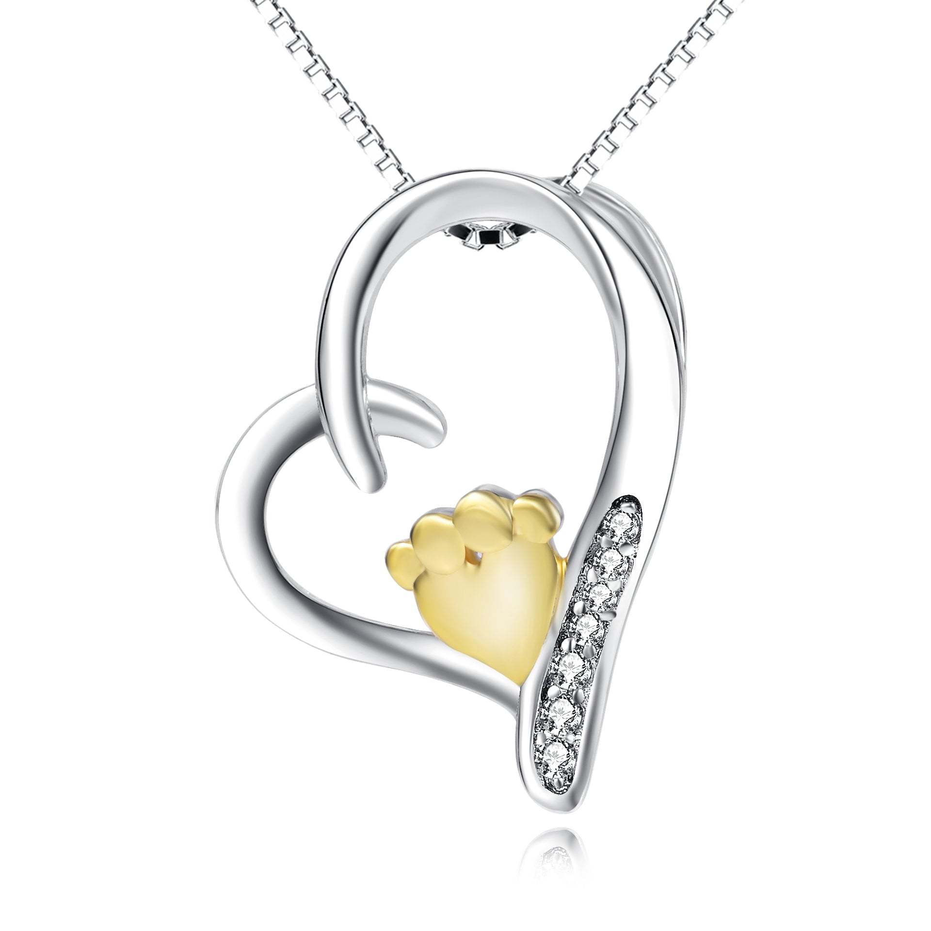 Children Feet Yellow Necklace Heart Zirconia Loving Jewelry Necklace