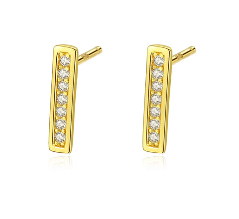 Pave Setting Bar Earrings 925 Sterling Silver AAA Cubic Zircon Bar Jewelry
