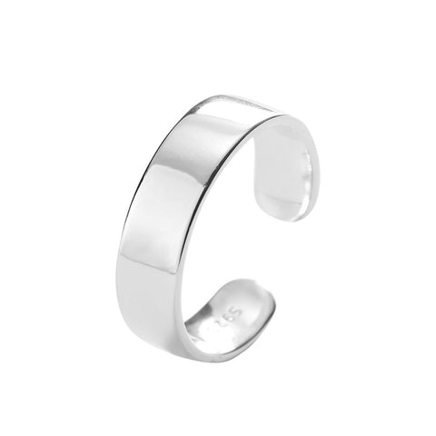 925 Sterling Silver Jewelry Simple Glossy Ring Personality Opening Adjustable