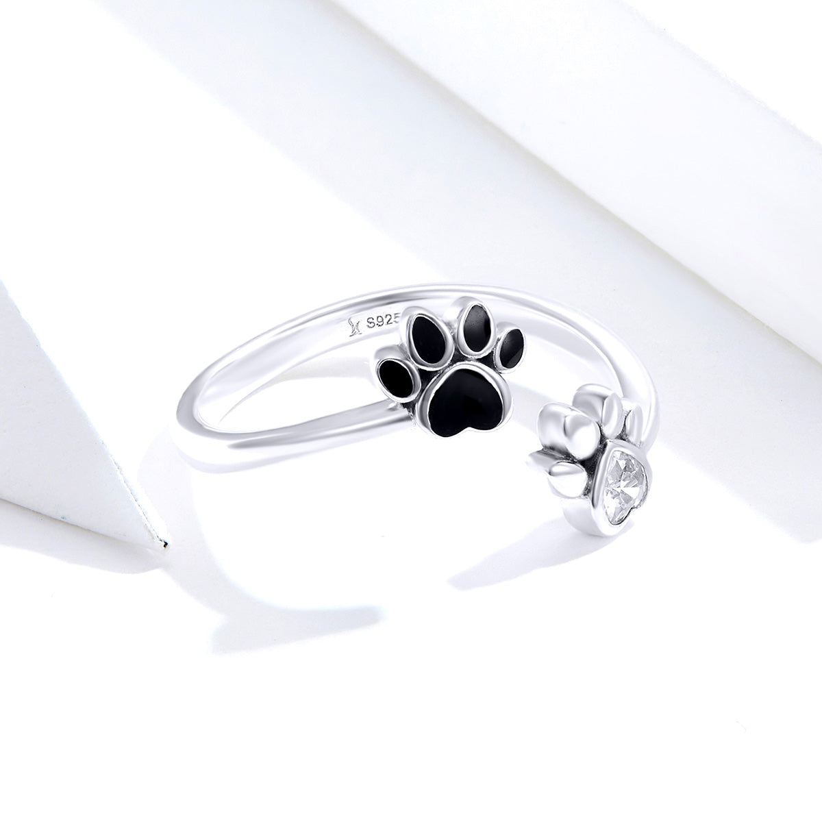 S925 sterling silver cute pet imprint ring zirconia ring animal paw print zircon ring