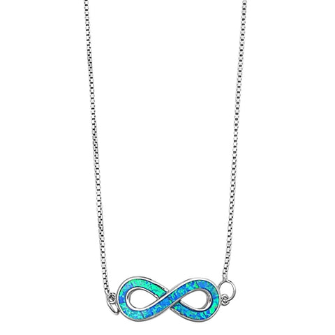 Lab Blue Opal Infinity Pendant Necklace