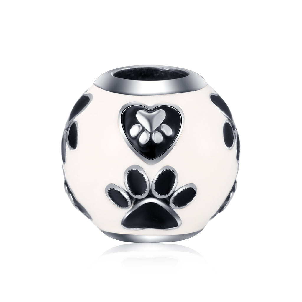 Puppy /Cat Paw White Enamel Beads Jewelry Silver Bracelet/Necklace Beads