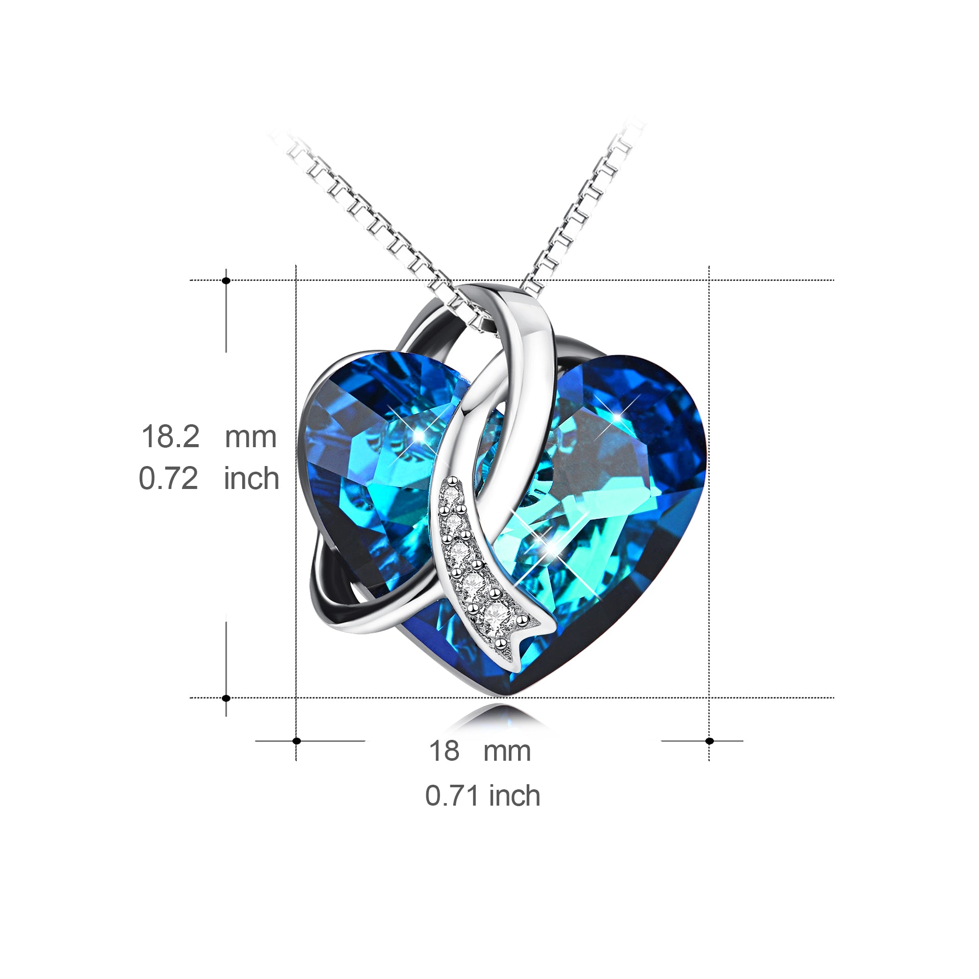New Love Heart Necklace Crystal Beautiful Heart Chain Necklace