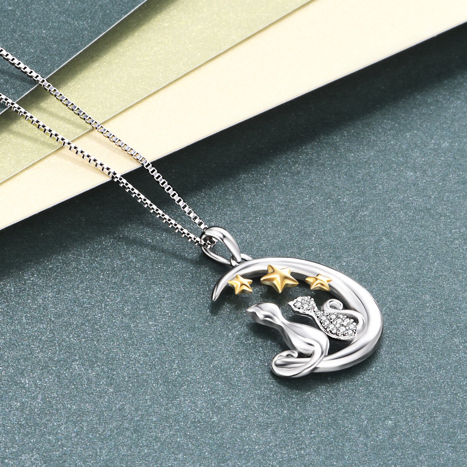 Yellow Stars Cat Animal Necklace Jewelry Double Lovely Cat Necklace