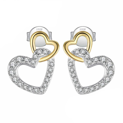 Infinity Love Heart CZ Stud Earrings