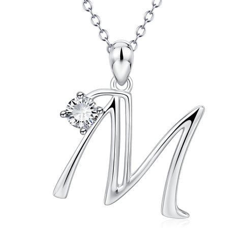 Factory own designer rhodium plated white zirconia charm pendant necklace