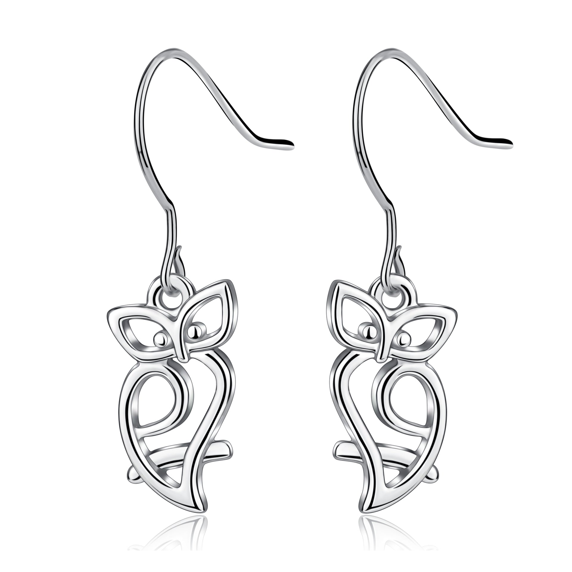 Animal Engraved Earrings Owl Cute Children Graduation Silver Earrings