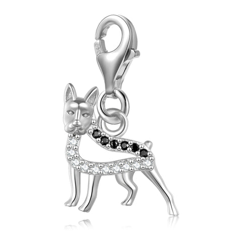 S925 Sterling Silver Fashion New Animal Puppy Zircon Jewelry Charms