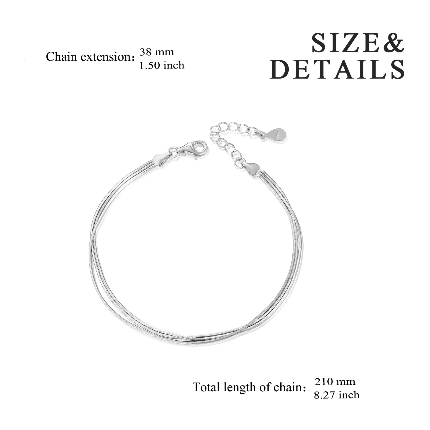 Multi-Strand Chain Bracelet Adjustable Length Silver Extension Chain Bracelet