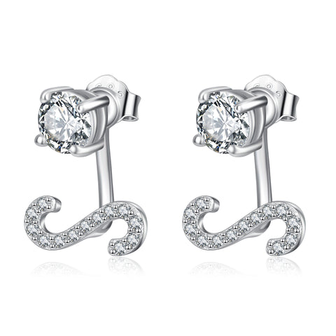 Horizontal letter S ear studs aaa zircon inlaid with pure silver earrings