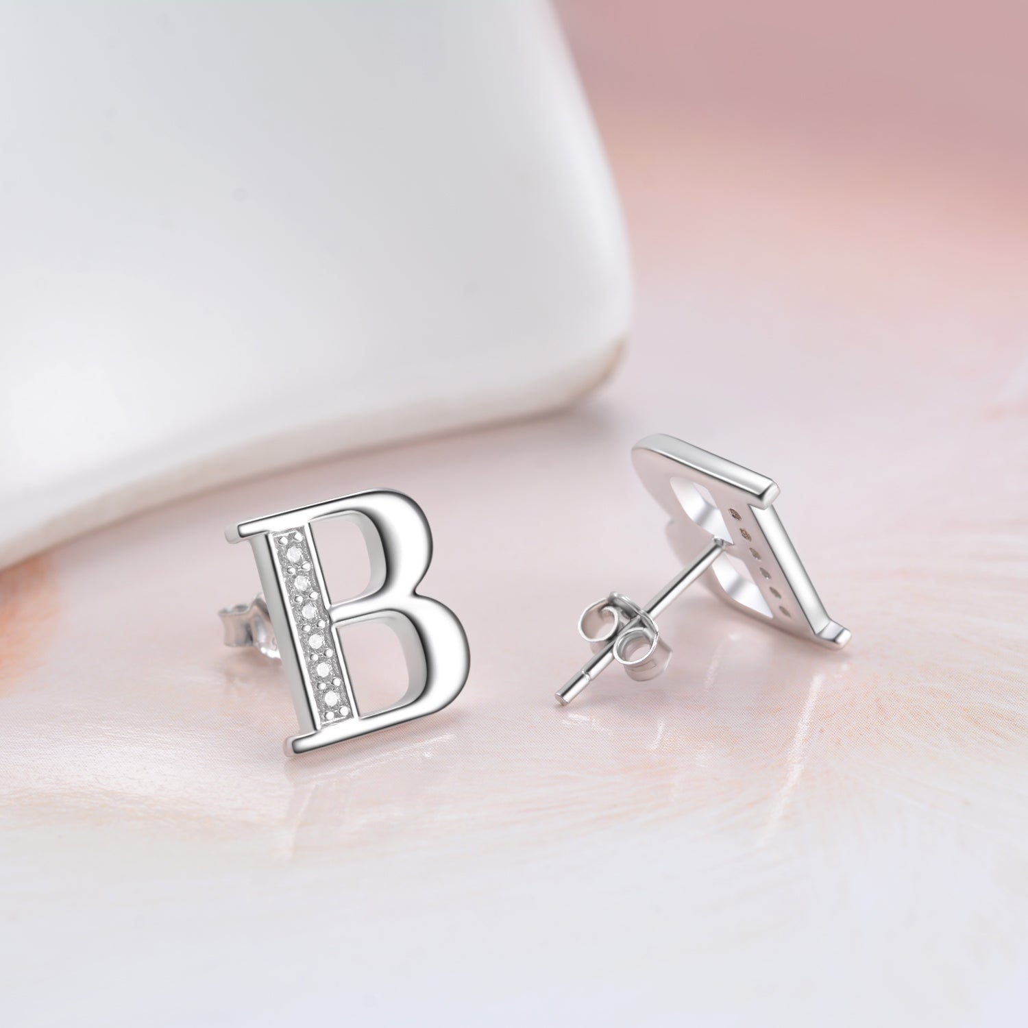 Letter B Cubic Zirconia Earrings Design 925 Sterling Silver Jewelry Earrings