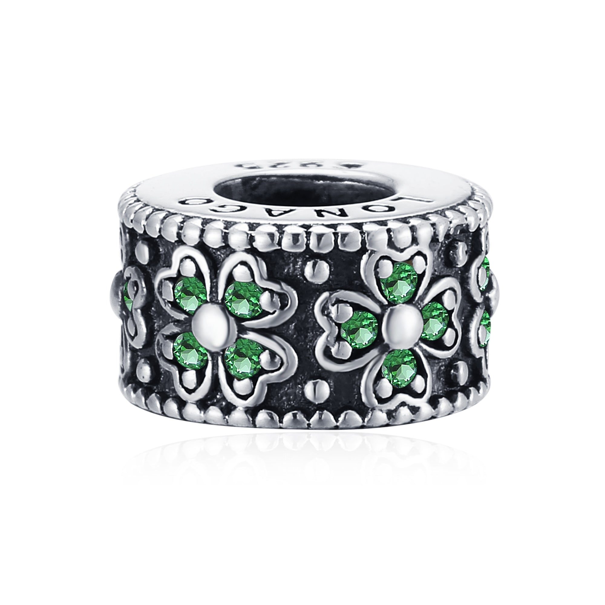 Green Cubic Zirconia Four-leaf Clover Oxidized Silver Flower Beads
