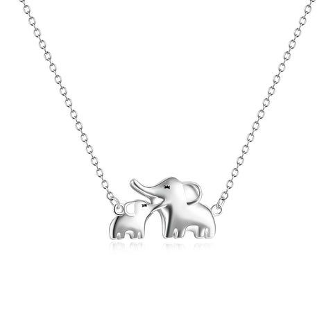 Lucky Elephant Jewelry 925 Sterling Silver Mother And Child Elephant Pendant Necklace