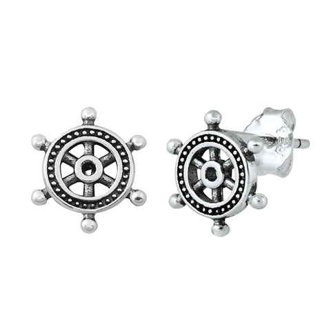 Silver Helm Stud Earrings