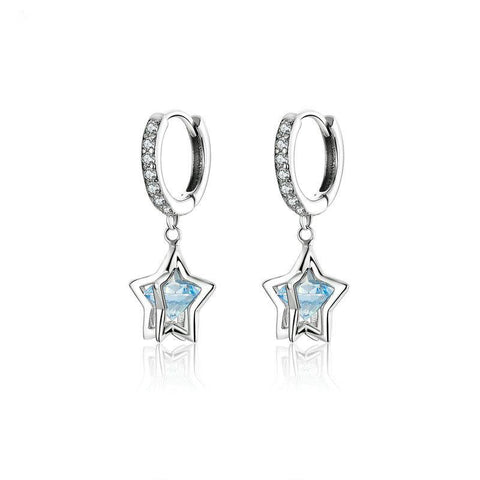 3D Star Drop Earrings