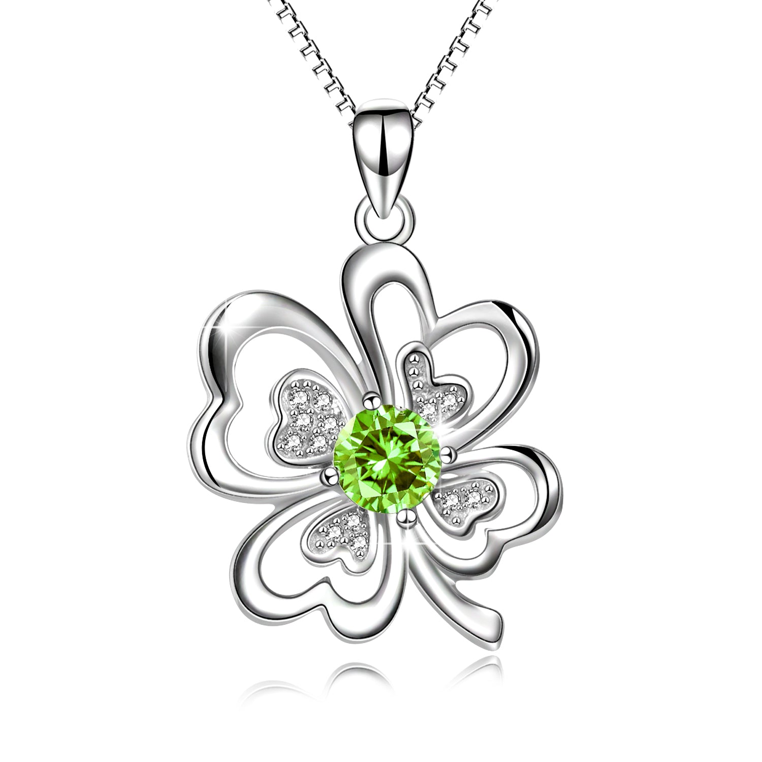 Hope, Faith, Lucky and Riches Four-Leaf Clover Necklace Silver Jewelry