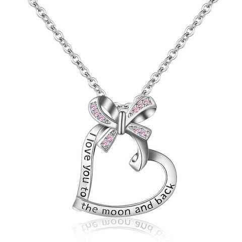 S925 Sterling Silver Heart Shaped Ribbon Bow Necklace Pendant with Diamond Messages Pendant