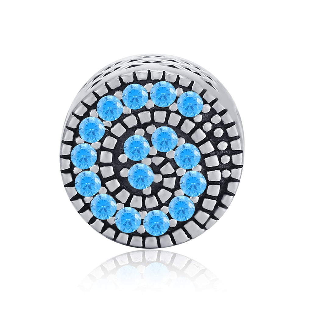 Sparkling Snail Charm Conch Shape Blue Zircon Decoration Silver Beads