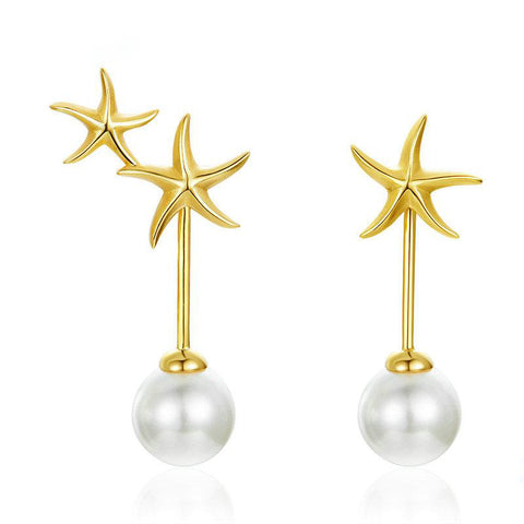 Starfish Ocean with Pearl Stud Earrings