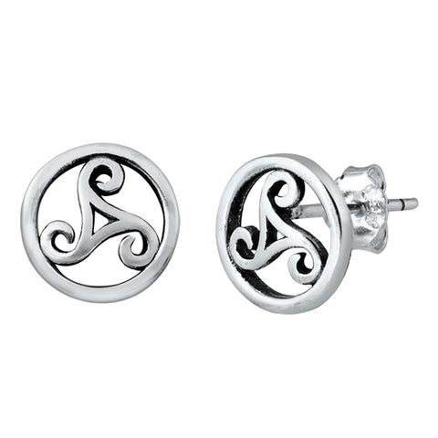 Silver Triskelion  Stud Earrings