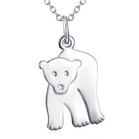 Cut Animal Bear Shaped Necklace Wholesale 925 Sterling Silver Jewelry For Gifts