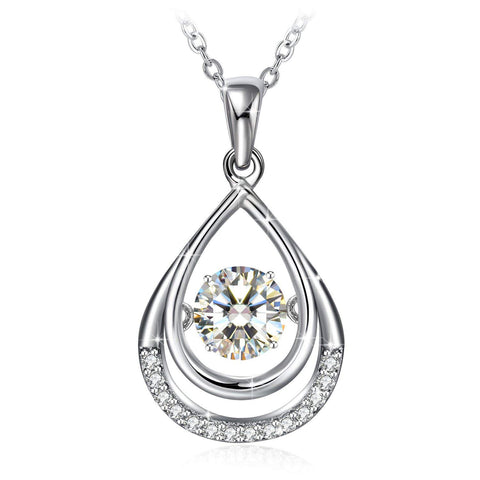 S925 Sterling Silver Personality Micro-Inlaid Double-Decker Drop-Shaped Smart Pendant Necklace Female Beating Heart