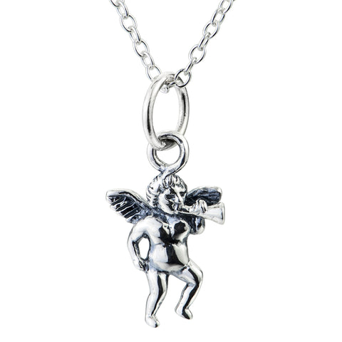 Men's Angel Necklace Design Classical Retro Silver Chain Necklace