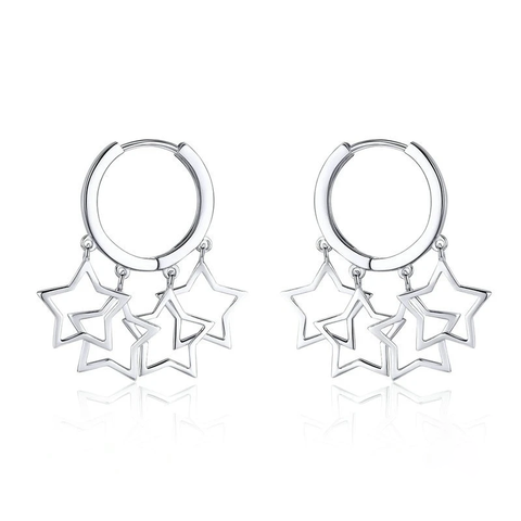 Silver Round Circle Shimmering Star Exquisite Hoop Earrings