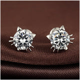 S925 Sterling Silver Super Cute Creative Cat Earrings Female Fashion Personality Wild Jewelry