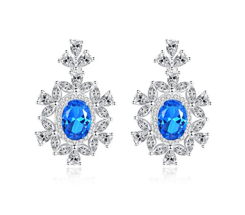 Oval Blue Sapphire Color CZ Pave Bridal Dangle Earrings 925 Sterling Silver CZ Jewelry