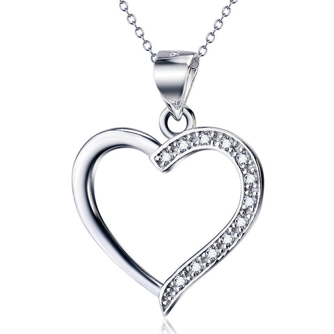 Cubic Zirconia Heart Pendant Necklace Valentine's Gifts Silver Jewelry