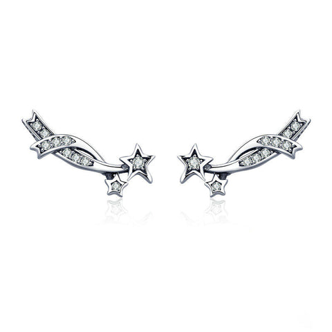 Elegant Shining Meteor Star Clear CZ Stud Earrings