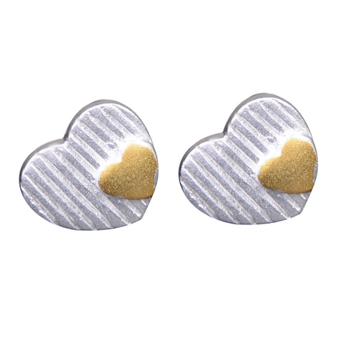 Rhodium with gold plating earrings heart design wholesale jewelry